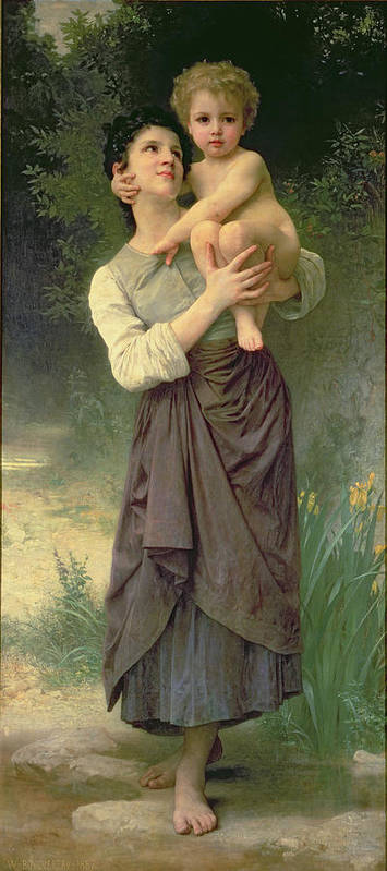Mother And Child Print featuring the painting Mother And Child by William Adolphe Bouguereau