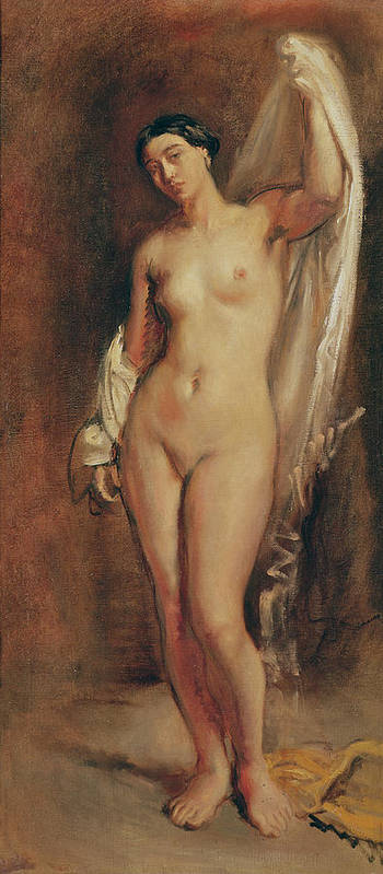 Standing Print featuring the painting Standing Female Nude by Theodore Chasseriau
