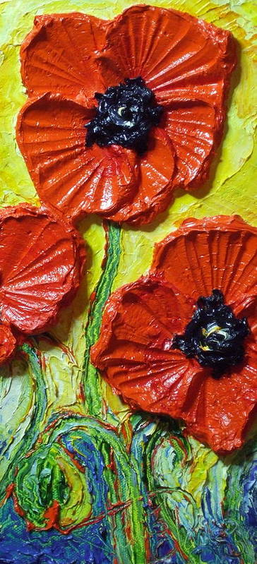 Red Poppy Painting Print featuring the painting Red Poppies II by Paris Wyatt Llanso