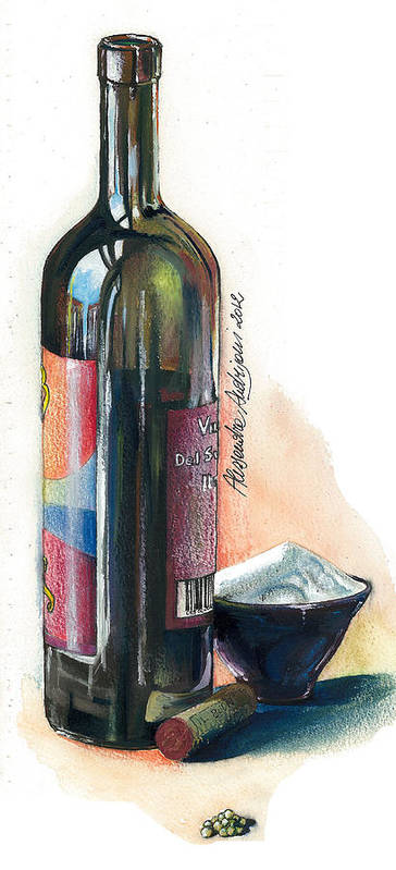Landscape Print featuring the painting Window On A Bottle by Alessandra Andrisani