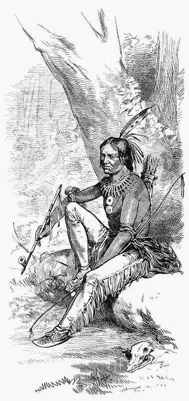 1876 Print featuring the photograph Native American With Pipe by Granger