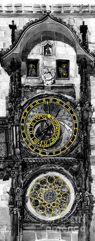 Geelee.watercolour Paper Print featuring the painting Bw Prague The Horologue At Oldtownhall by Yuriy Shevchuk