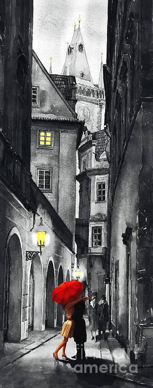 Prague Print featuring the digital art Prague Love Story by Yuriy Shevchuk