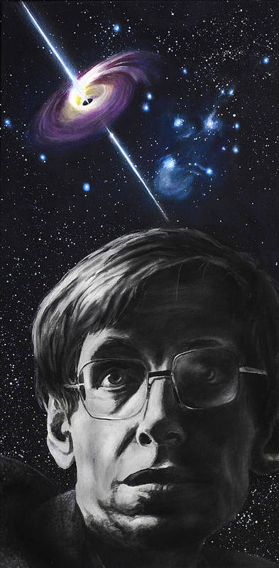 Stephen Hawking Print featuring the painting A Brief History Of Time- Stephen Hawking by Simon Kregar