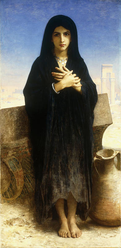Young; Fellah; Girl; Female; Arabic; Rural; Provincial; Barefoot; Black; Hijab; Burka; Burqa; Scarf; Headdress; Pot; Urn; Blue; Sky; Ruin; Ruins; Heat; Arid; Solemn; Serious; Full Length; Portrait; Pottery; Standing Print featuring the painting A Young Fellah Girl by William Adolphe Bouguereau