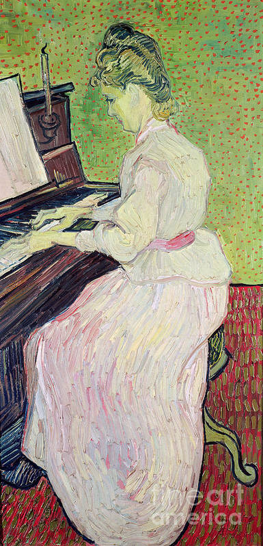 Daughter Of Paul Gachet Print featuring the painting Marguerite Gachet At The Piano by Vincent Van Gogh
