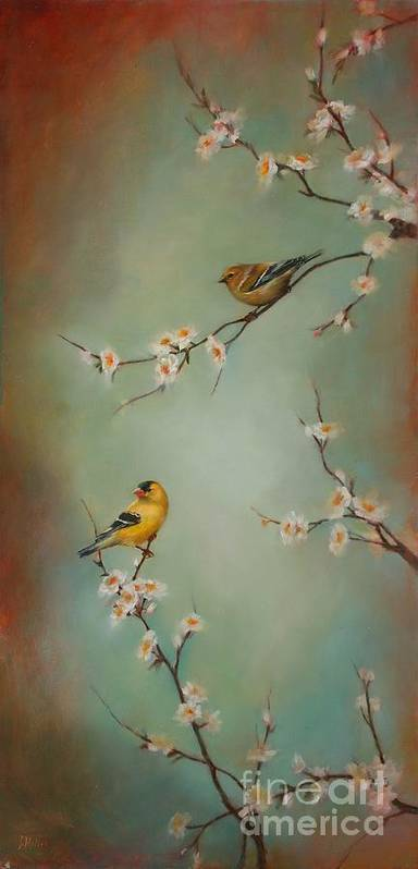 Songbird Print featuring the painting Spring Dream by Lori McNee