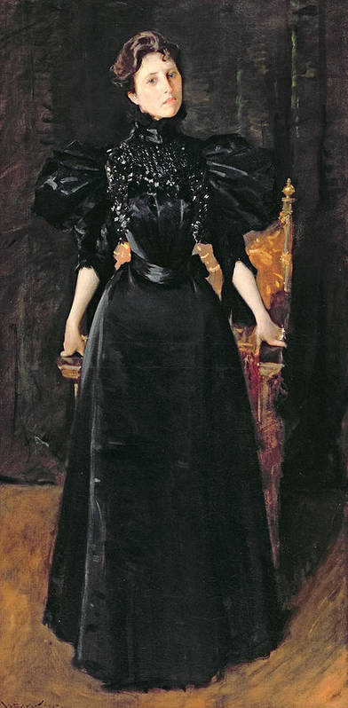 Portrait Print featuring the painting Portrait Of A Lady In Black by William Merritt Chase