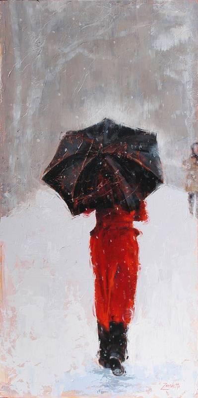 Women Print featuring the painting Winter Walk by Laura Lee Zanghetti