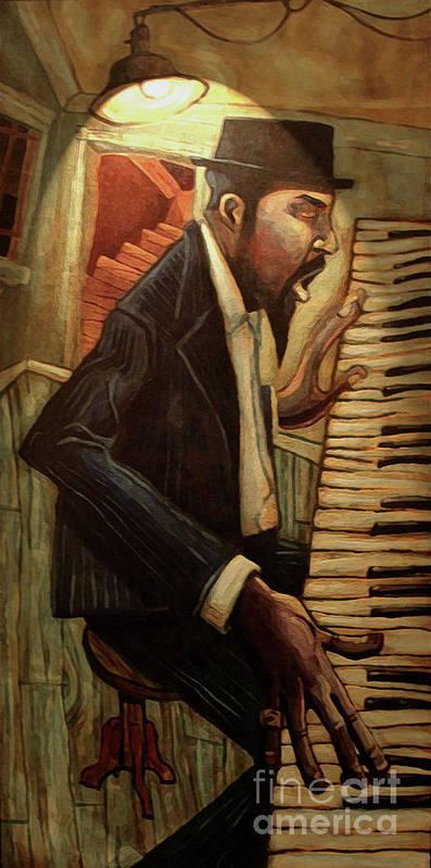 Jazz Print featuring the digital art Blue Monk by Sean Hagan