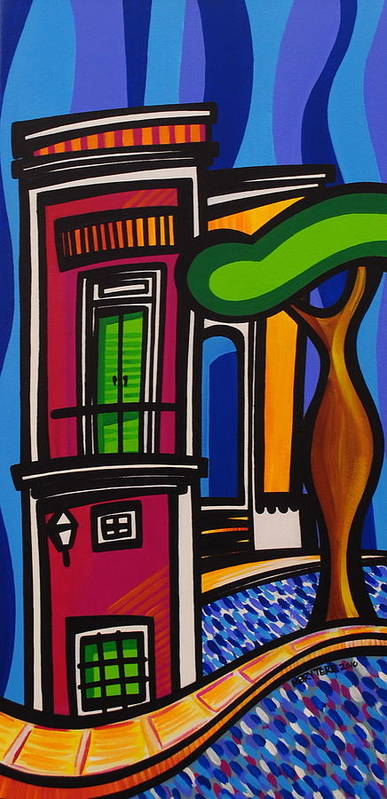 Puerto Rico Print featuring the painting The Green Door by Mary Tere Perez