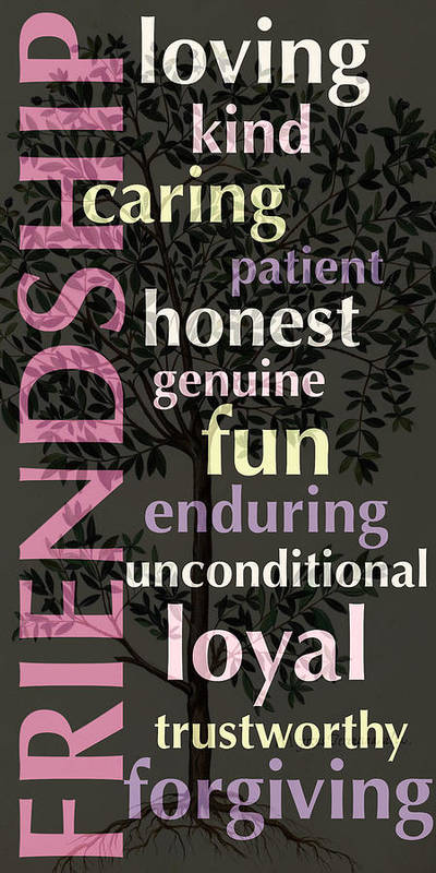 Typography Print featuring the digital art Friendship by Bonnie Bruno