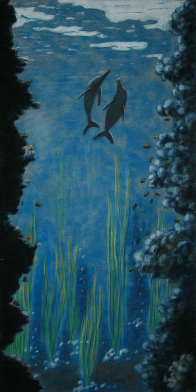 Dolphins Print featuring the painting Through The Trench by Charles Hubbard