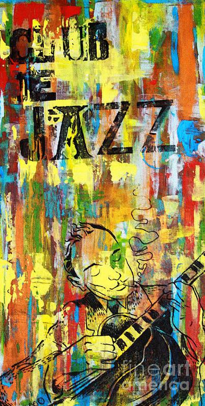 Club Print featuring the mixed media Club De Jazz by Sean Hagan