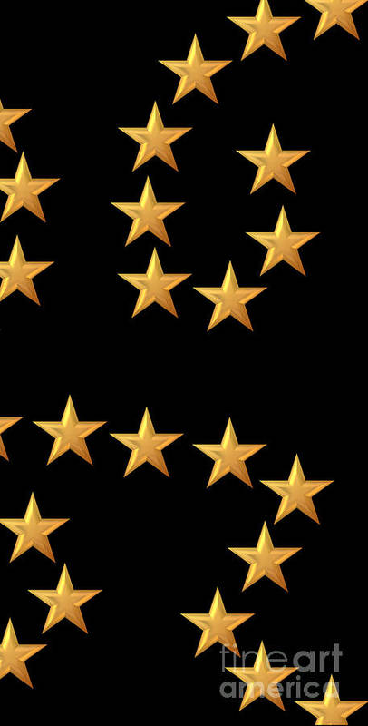 Star Print featuring the digital art Gold Stars Abstract Triptych Part 3 by Rose Santuci-Sofranko