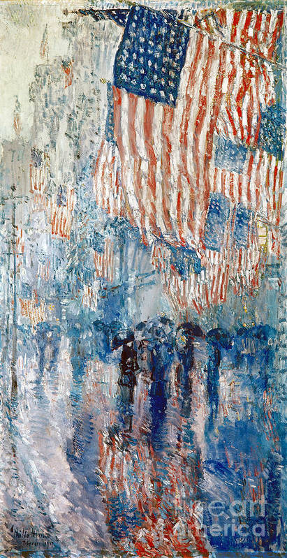 1917 Print featuring the photograph Hassam Avenue In The Rain by Granger