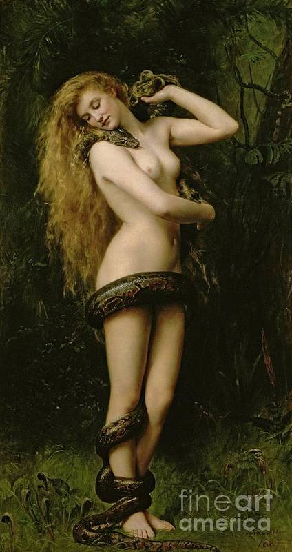 Nude; Female; Snake; Long Hair; Pre-raphaelite; Lilith Print featuring the painting Lilith by John Collier