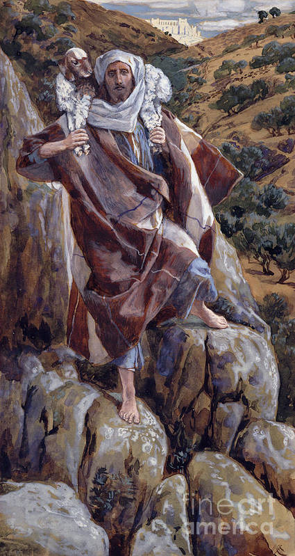 The Print featuring the painting The Good Shepherd by Tissot