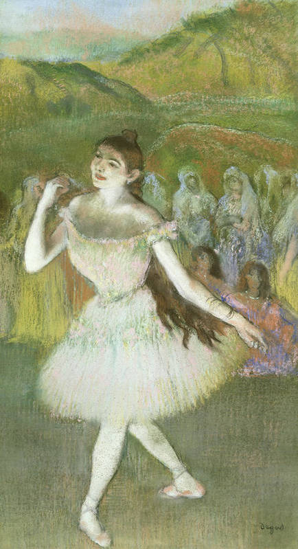 Pink Print featuring the pastel Pink Dancer by Edgar Degas