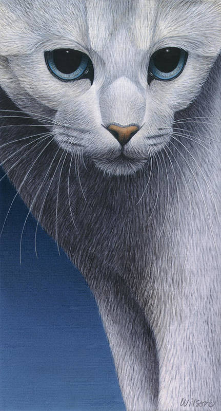 White Cat Print featuring the painting Cropped Cat 5 by Carol Wilson