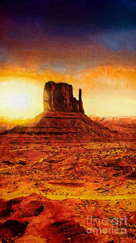 Monument Valley Print featuring the painting Monument Valley by Mo T