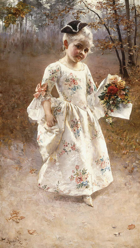 Little; Flower; Girl; Female; Child; Children; Portrait; Standing; Full Length; Young; Youth; Posy; Bouquet; Flower; Flowers; Floral; Silk; Dress; Hat; Walking; Wooded; Landscape; Coquettish; Coy; Woods; Leaves Print featuring the painting The Little Flower Girl by Albert Raudnitz