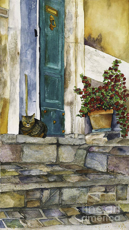 Cat Print featuring the painting Di Gatto by Barb Pearson