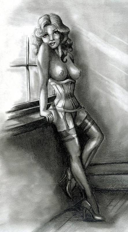 Figure Print featuring the drawing Moonlight by Scarlett Royal
