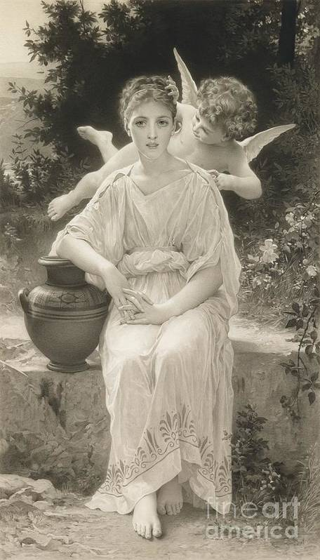 Female; Seated; Love; Cupid; Whisper; Whispering; Flying; Cherub; Vase; Amphora; Outdoors; Beauty; Monochrome; 19th; 20th Print featuring the drawing The First Whisper Of Love After Bouguereau by John Douglas Miller