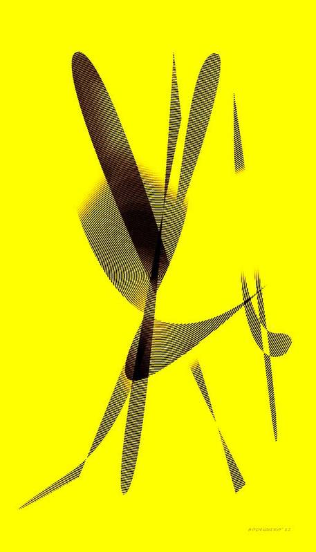 Yellow Print featuring the digital art Yellow And Brown by Mario Perez