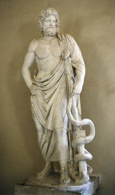 Vertical Print featuring the photograph Asclepius. 4th C. Bc. Classical Greek by Everett