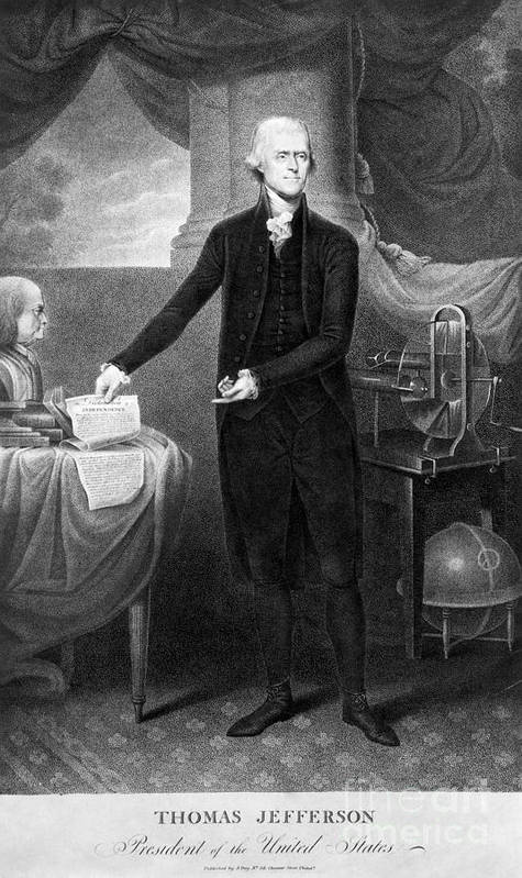 1801 Print featuring the photograph Thomas Jefferson (1743-1826) by Granger