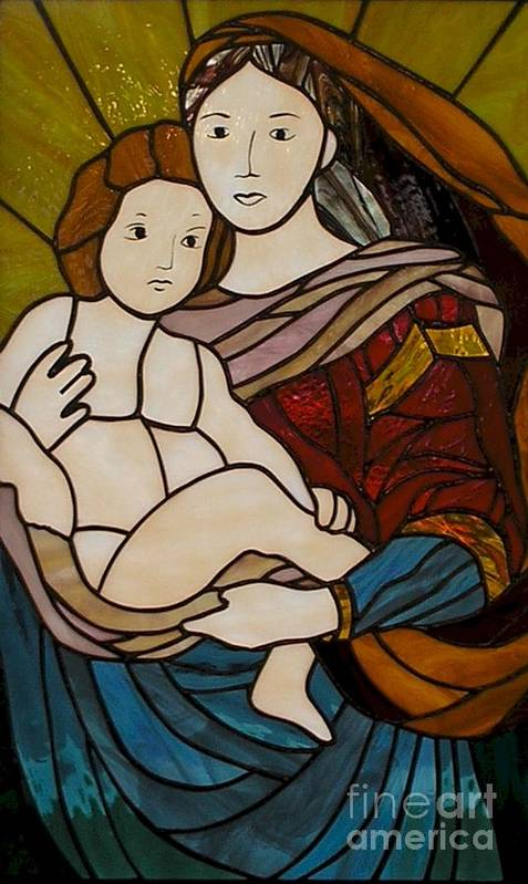 Mary And Jesus Print featuring the glass art Blessed Art Thou Among Women-mary by David Gomm