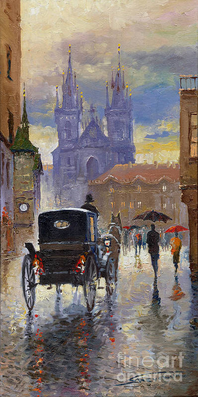 Oil On Canvas Print featuring the painting Prague Old Town Square Old Cab by Yuriy Shevchuk