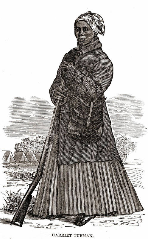 Illustration Print featuring the photograph Harriet Tubman, American Abolitionist by Photo Researchers