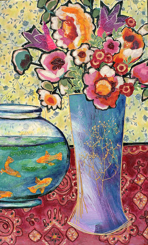 Flowers In A Vase Print featuring the mixed media Fish Bowl And Posies by Diane Fine