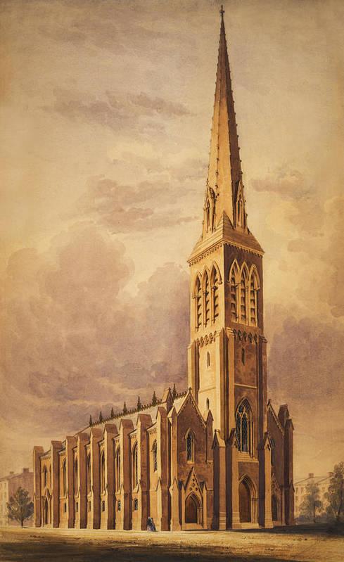 Church Print featuring the painting Masonry Church Circa 1850 by Aged Pixel
