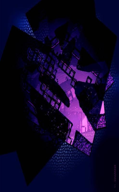 Purple Print featuring the digital art Purple Abstract Geometric by Mario Perez