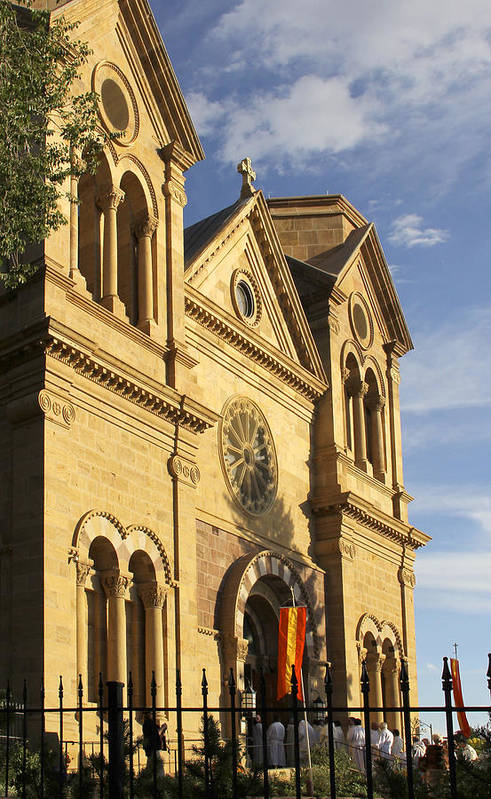 St. Francis Cathedral Print featuring the photograph St. Francis Cathedral - Santa Fe by Mike McGlothlen
