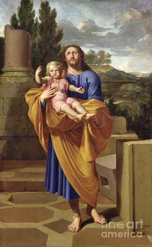 Saint Joseph Print featuring the painting St. Joseph Carrying The Infant Jesus by Pierre Letellier