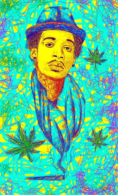 Wiz Khalifa Drawing Print featuring the drawing Wiz Khalifa Drawing In Line by Pierre Louis