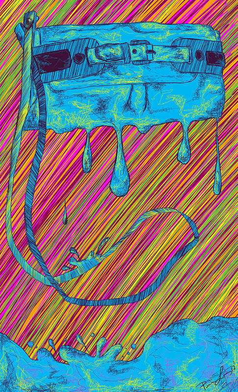 Abstract Handbag Drips Color Print featuring the painting Abstract Handbag Drips Color by Pierre Louis
