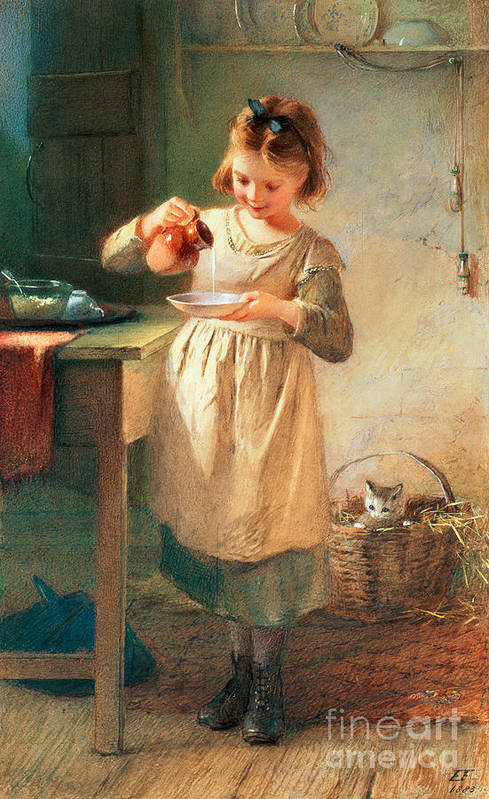 Kitten; Milk; Bowl; Jug; Kitchen; Child; Eating Print featuring the painting Kitty's Breakfast by Farmer Emily