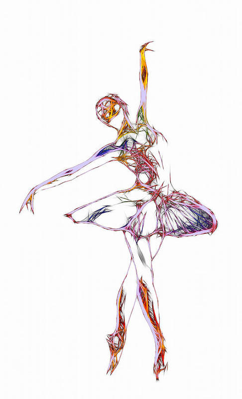 Ballet Ballerina Dance Dancing Princess Erotic Female Girl Woman Sexy Expressionism Wonderful Art Elegant Pretty Lovely Gracefully Painting Dancer Dream Electric Energy Dynamic Motion Love Lovers Dancers Abstract Robot Print featuring the digital art Robot Diva by Steve K