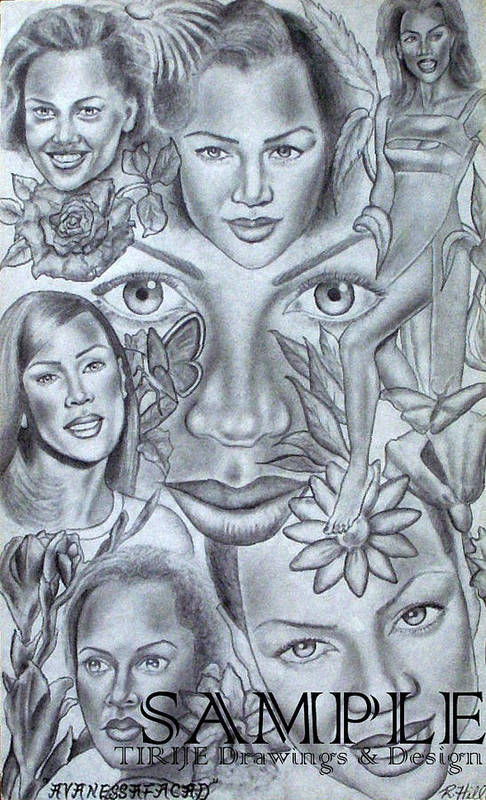 Portraits Print featuring the drawing Avanessafacad by Rick Hill