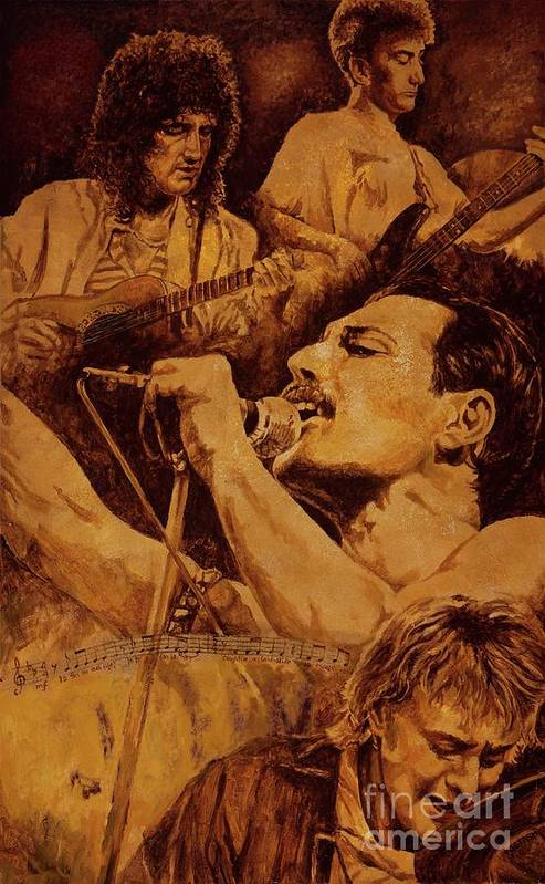 Queen Print featuring the painting We Will Rock You by Igor Postash