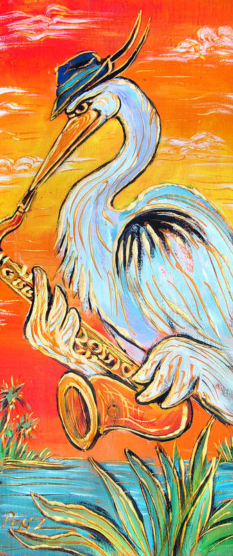 Blues Print featuring the painting Heron The Blues by Robert Ponzio