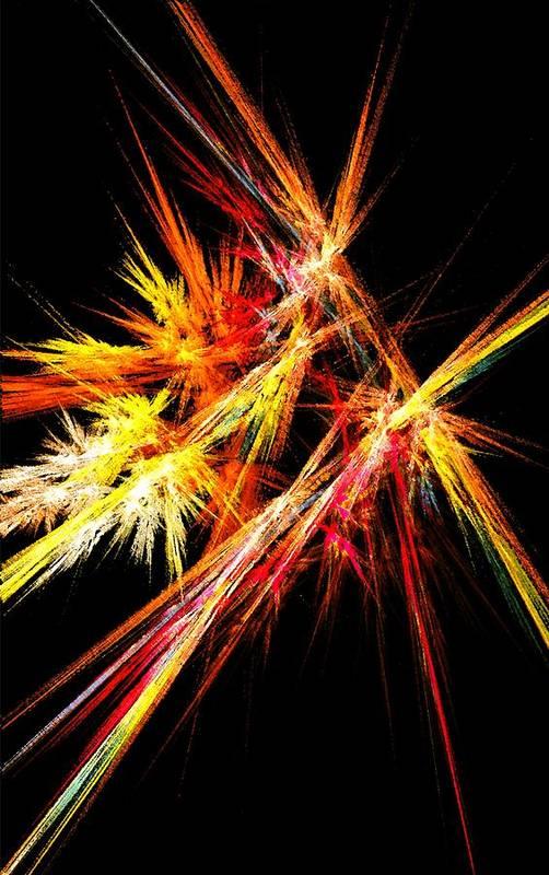 Abstract Print featuring the digital art Fireworks by Anastasiya Malakhova