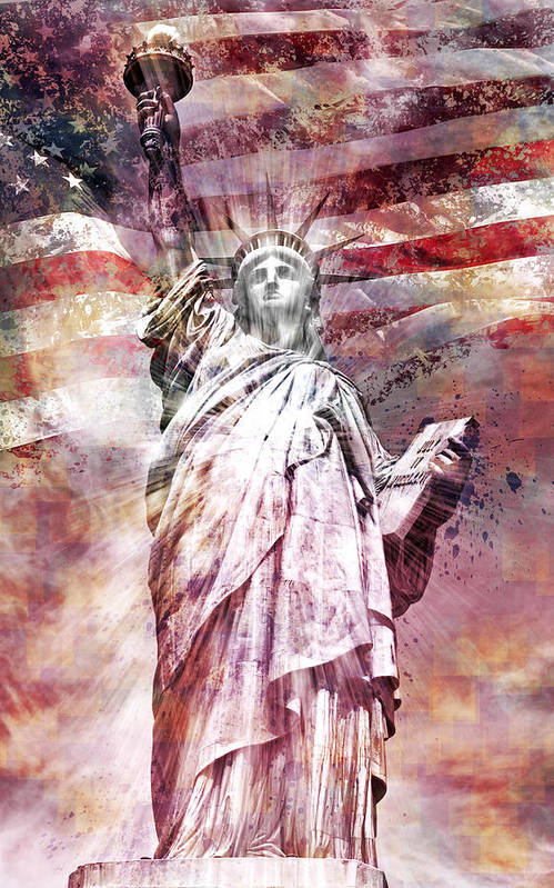 Manhattan Print featuring the photograph Modern Art Statue Of Liberty Red by Melanie Viola