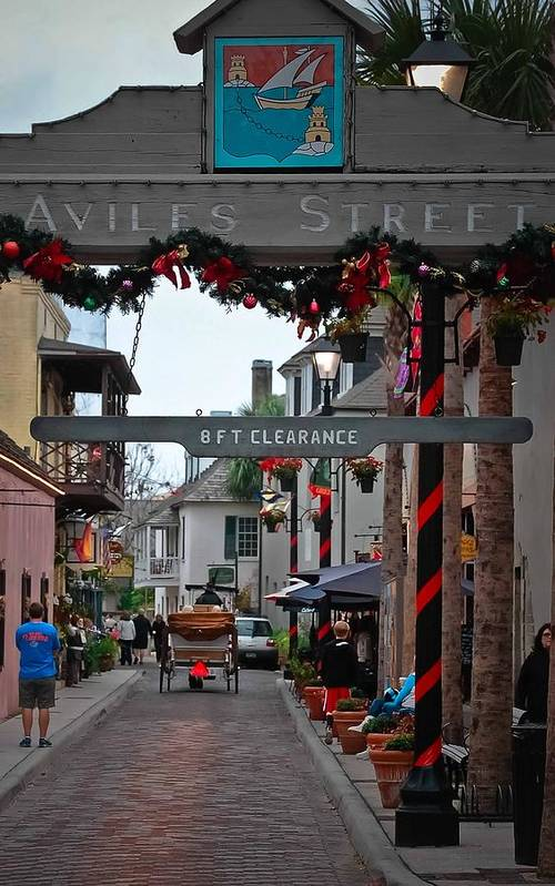 St Augustine Print featuring the photograph Christmas On Aviles Street by DigiArt Diaries by Vicky B Fuller